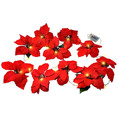 BANBERRY DESIGNS Poinsettia Flower Lighted Garland –Approx 90 Inches Red Poinsettias LED Lights - Christmas Decorations – Battery Operated Decorative Floral Accessories