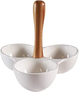 3 Compartment Dish With Bamboo Handle by CIROA   Ceramic Serving Bowl for Dips, Chips, Snacks, Appetizers