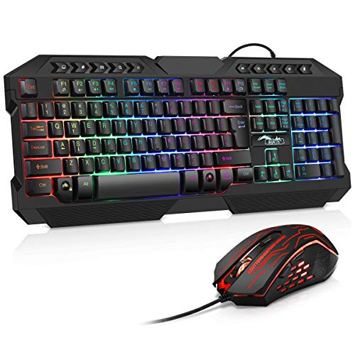 BAKTH Gaming Tastatur und Maus Set, LED Hintergrundbeleuchtung QWERTY US Layout, Regenbogen Farben Beleuchtete USB Wasserdicht Tastatur und Maus mit 3600 DPI für Pro PC Gamer