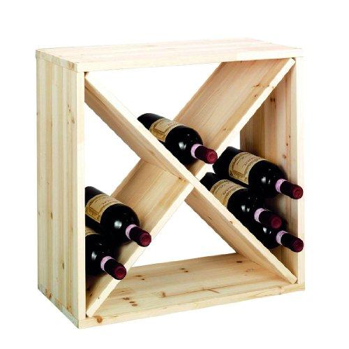 Sistema botellero CUBE 52 módulo 1, pino natural, máx. 28 botellas, apilable/ampliable - alt. 52 x anch. 52 x pr. 25 cm