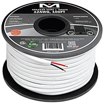 Mediabridge 12AWG 2-Conductor Speaker Wire  100 Feet White  - 99.9% Oxygen Free Copper – ETL Listed & CL2 Rated for in-Wall Use  Part# SW-12X2-100-WH