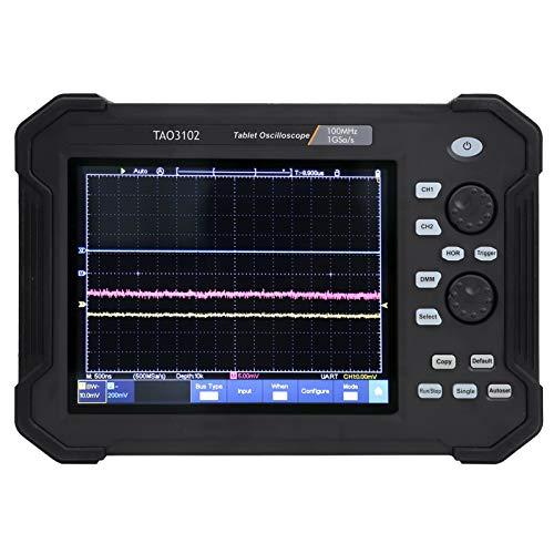 TAO3102 Osciloscopio de 8 Pulgadas, Kit de Osciloscopio Digital para Tableta con Pantalla Táctil de 2 Canales y 100 MHZ, Frecuencia de Muestreo de 1GS, con Modo Normal y Modo de Ventan(EU Plug)