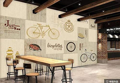 Muursticker Muurschildering Handbeschilderde Fiets Engels Alfabet Houten Board Textuur Poster Cafe Dessert Shop ijs Shop Pizza Shop Bakkerij Restaurant Photo Wallpaper 430cmx300cm(169.3x118.1inch)