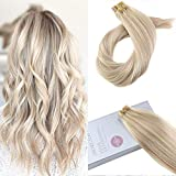 Moresoo 20 Inch Tape on Human Hair Extensions Remy Hair Extensions Tape in Human Hair Color #18 Ash Blonde Highlighted with #613 Blonde 20PCS 50G Soft Glue in Hair