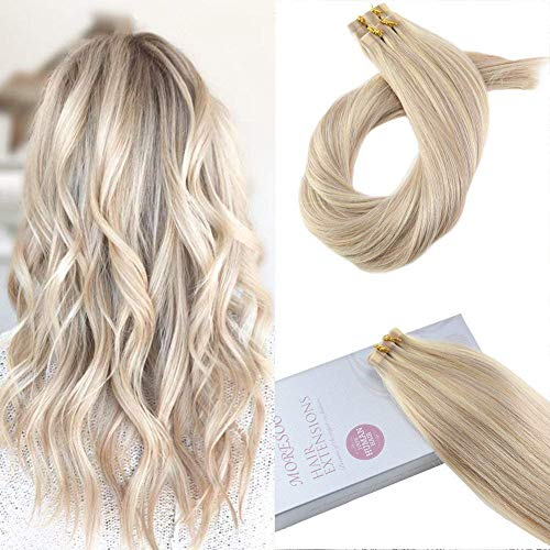 Moresoo Tape in Extensions Echthaar Ombre Aschblond mit Bleach Blond 100% Remy Tape in Human Hair Extensions 14 Zoll 40g/20pcs