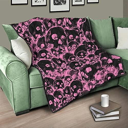 Flowerhome Totenkopf Horror Tagesdecke Steppdecke Bettdecke Bettüberwurf Sofadecke Couchdecke Schlafdecke Wohndecken Kuscheldecken für Sofa Couch Bett White 100x150cm