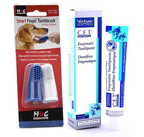 Virbac Dentifricio enzimatico (al sapore di pollo; 70g) con spazzolino da dito intelligente per cani (confezione doppia)