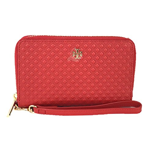 Tory Burch Marion Leather iPhone X 8 7 Wristlet Wallet, Liberty Red