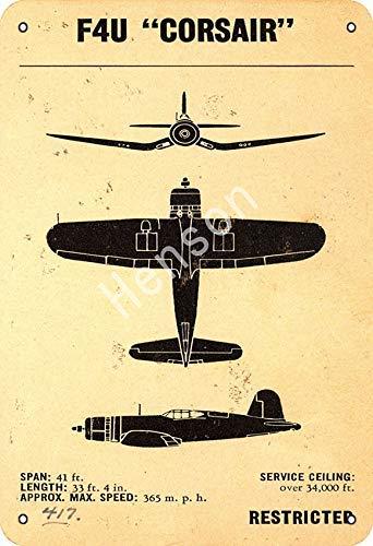 GenericBrands F4U Corsair World War II Fighter Cartel de Hierro Oxidado Decorado...