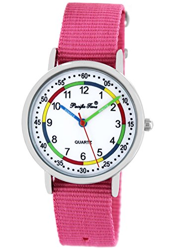 Pacific Time First Kinder-Armbanduhr Lernuhr Jungen Mädchen Regenbogenfarben Schnellwechsel Textilarmband analog Quarz rosa 865210