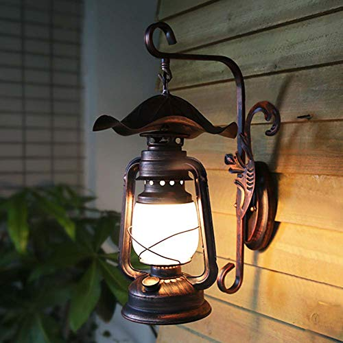 Retro Rustikale Wandleuchte E27 Petroleumlampe, Vintage Schmiedeeisen Wandlampe Wandlichter Beleuchtung für Restaurant/Teehaus/Bars/Cafés/Resorts/Design-Studios/Loft