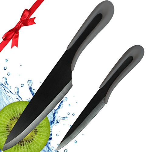 "Ceramic Knife by Vesper's Kitchen 2 Piece Ceramic Kitchen Knife Set, Black Ceramic Knives, a 6"" Ceramic Chef Knife and 4"" Ceramic Paring Knife with Sheaths in a beautiful Gift Box Black Blades Best"