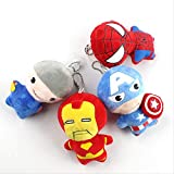 qwermz Peluches Suaves, 4 Unids/Lote The Avengers Peluches Capitán América Iron Man Thor Peluche Rel...