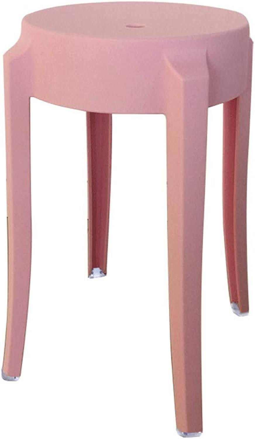 SLH Pink Stool European Plastic Stool Home High Stool Creative Dining Table Stool