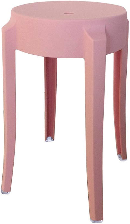 SLH Pink Stool European Plastic Stool Home High Stool Creative Dining Table Stool