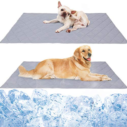 Reversible Large Pet Cooling Mat Pad for Puppy Bulldog Boston Terrier Lab Pug Golden Retriever, Dog Cool Blanket Rug Carpet Placed on Bed Kennel Cave, Machine Washable, 43.3'x31.5'