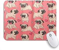 ZOMOY マウスパッド 個性的 おしゃれ 柔軟 かわいい ゴム製裏面 ゲーミングマウスパッド PC ノートパソコン オフィス用 デスクマット 滑り止め 耐久性が良い おもしろいパターン (かわいいパグ犬ラブハートダーク)