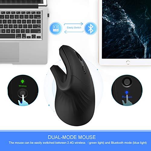 Jelly Comb Mouse ergonomico Bluetooth Wireless, mouse Verticale dual mode 2.4G +Bbluetooth 4.0 senza fili Durata Batteria a Doppia modalità con 3 DPI Regolabili per Android, Mac OS, Windows, Nero