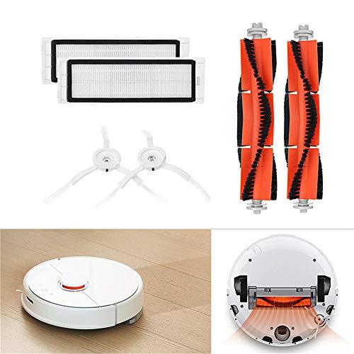 Zubehör für XIAOMI MI Robot Vacuum Saugroboter (6-Teilig),2 Zentralbürste + 2 Seitenbürste + 2 HEPA Filters,Staubsauger-Teile Ersatz für Xiaomi Mi Robot und Cleaner