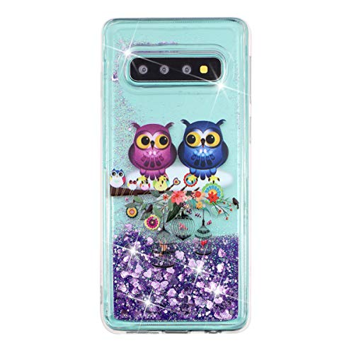 Funda brillante de 14 quilates, compatible con Galaxy S10 Plus, ultrafina, líquida, con purpurina, arenas movedizas, purpurina, gradiente de arena movedizada, silicona, suave TPU, funda para teléfono móvil