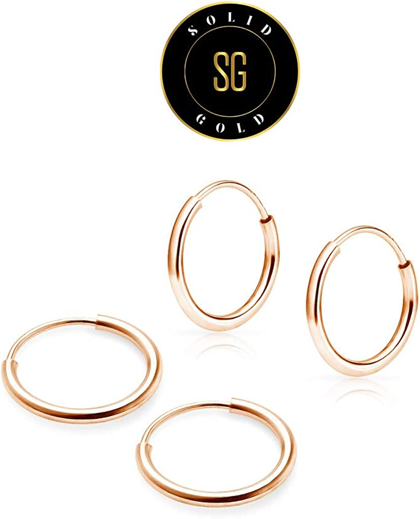 SOLIDGOLD - 14K Endless Gold 10mm Infinity Hoop Sleeper Earrings 2-3 Pair Set | Yellow, Rose & White Gold