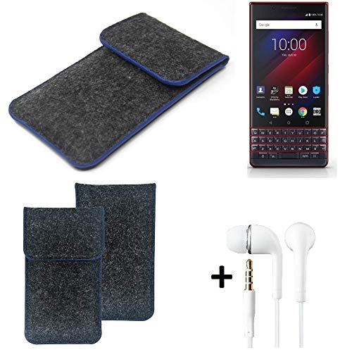 K-S-Trade Filz Schutz Hülle Für BlackBerry Key 2 LE Dual-SIM Schutzhülle Filztasche Pouch Tasche Handyhülle Filzhülle Dunkelgrau, Blauer Rand Rand + Kopfhörer