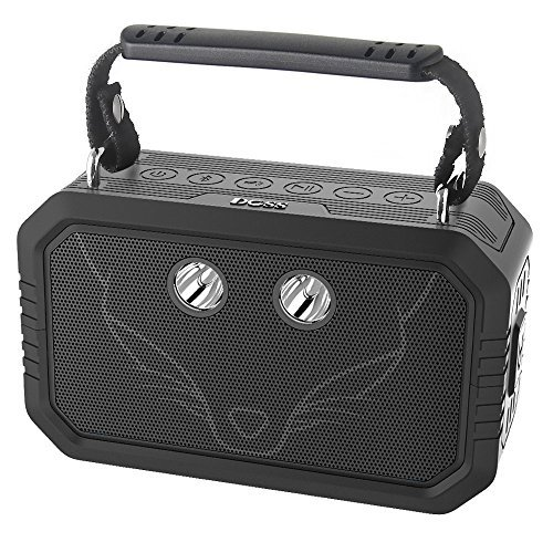DOSS Traveler Enceinte Bluetooth Portable,5 Modes d'éclairages,Waterproof Haut-Parleur d'extérieur sans Fil,avec Son de 20W HD,étanche IPX6,Idéal pour Camping,Les Voyages,Noir