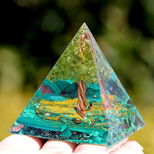 Ogan Energy Pyramid Malaquita Gema Árbol De La Vida Adornos De Piedra De Cristal 10 Cm * 10 Cm