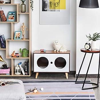Pawhut Maison pour Chat Design scandinave Niche Chat entrée Sortie Coussin Inclus dim. 69L x 35l x 46H cm MDF Imitation Bois hêtre