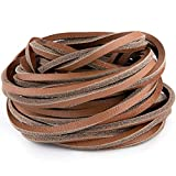 3mm Flat Top Grain Leather Cord, Strip Cord Braiding String Dark Brown for Leather Shoes Laces, Beading Jewelry, DIY Marking Personality Handbag Necklace Bracelets and Fashion Accessories (5 Yards)