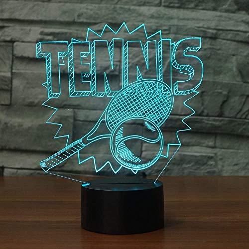 Lámpara de ilusión óptica 3D de tenis, 7 colores, interruptor táctil, ilusión nocturna, para dormitorio, decoración, boda, cumpleaños, día de San Valentín