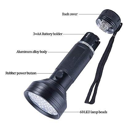 UV Flashlight Black Light, WJZXTEK 68 LED 395nm Ultraviolet Blacklight Detector for Dog Urine,Dry Stains,Bed Bug, Matching with Pet Odor Eliminator(Batteries Not Included) 5