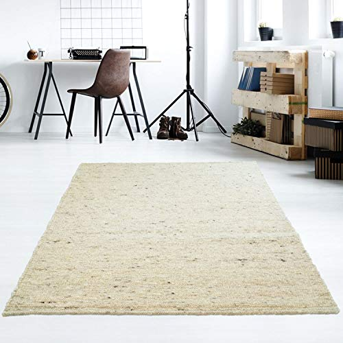 Taracarpet Moderner Handweb Teppich Alpina handgewebt aus Schurwolle für Wohnzimmer, Esszimmer, Schlafzimmer und die Küche geeignet (130 x 190 cm, 60 Beige meliert)