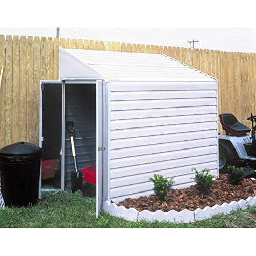 4 x 10 ft. Steel Shed Pent Roof Eggshell