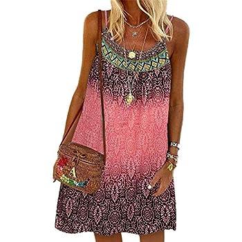 PP PLUIE POURPRE Women Summer Dress Sleeveless Casual Camis Tunic Mini Beach Dresses Boho Floral Print  Pink m