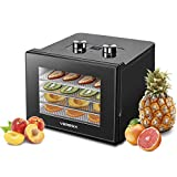 Food Dehydrator Machine - Digital Adjustable Timer and Temperature Control Dryer Dehydrators for Food and Jerky, Herbs, Meat, Fruit, Veggies, with 4 Stainless Steel Trays and 2 Anti-stick Mat