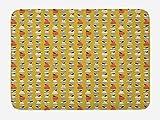 ABAKUHAUS Fruta Tapete para Baño, Arte Pop Peras Hojas Manzanas, Decorativo de Felpa Estampada con Dorso Antideslizante, 45 cm x 75 cm, Caqui Multicolor