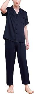 YAOMEI Mens Pyjamas Set Satin, 2019 Mens Silky Short Sleeves Nighties Couples PJ Set Sleepwear Nightwear, Luxury Lingerie ...