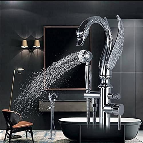 ETRVBSWE Mezclador de Grifo de bañera Cromado contemporáneo, Grifo de bañera de Montaje en el Suelo con Interruptor de baño de Dos Modelos, Ducha de Mano con Orificio de latón de una manija (Cor: duc