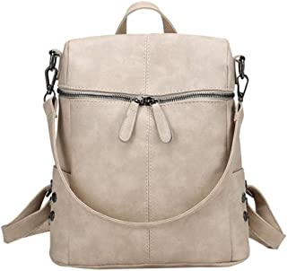 Casual Large Capacity Shoulder Bags Vintage Women Backpack Nubuck Leather Pu School Backpacks for Teenage Girl(Beige,26 * 11 * 30cm)