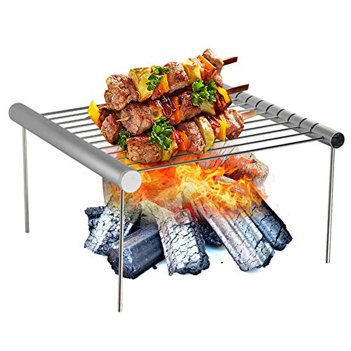 DASGF Draagbare Camping Grill, Mini Vouwen Afneembare Opslag Grill Grid Voor Campers, Backpacking, Achtertuinen, Outdoor Koken, Camping Wandelen Picnics,Roestvrij Staal