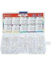 BOJACK 10 colores 200 piezas 5 mm LED Luces de diodo assored Kit Lámparas de iluminación brillante Componentes de componentes electrónicos 5 mm Piezas de diodos emisores de luz