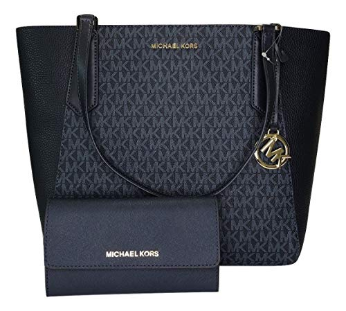 Bundle of 2 items: MICHAEL Michael Kors Kimberly Large Bonded Tote bundled with Michael Kors Jet Set Travel Large Trifold Wallet Top zip closure, side gusset pockets, Dual leather straps with approx. 8'' drop Interior : unlined interior (leather) wit...