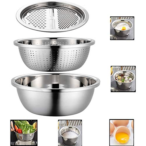 Graters for Kitchen 304 Thick Stainless Steel Multifunction Grating Basin Set Kitchen Rice Sieve Drain Basin Creativity Practical Three-Piece Suit,Silver