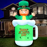 Holidayana 9ft St Patricks Day Inflatable Leprechaun Beer Mug - St Patty's Leprechaun Coming Out of Beer Blow Up Yard Decoration, Includes Built-in Bulbs, Tie-Down Points, and Powerful Built-in Fan