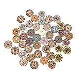 ZNYH 50 Uds Botones de Madera Vintage 2 Agujeros 15/20 / 25mm Botones Mixtos...