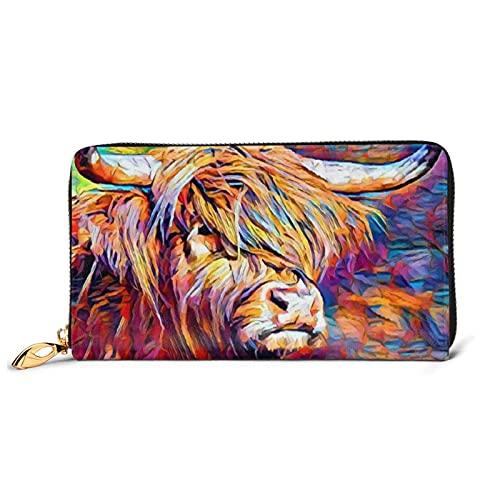 Highland - Cartera de piel con estampado de vaca para mujer,