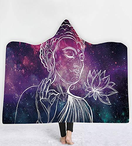 LLC Umhang Mit Kapuze Decke, Mandala Yoga-Serie Mit Kapuze Decke, Persönlichkeit Mantel Erwachsene Mit Kapuze Decken Mit Kapuze Decke Kinder Kapuzen-Umhang Weich-Umhang Decke Warm,C 150X200cm