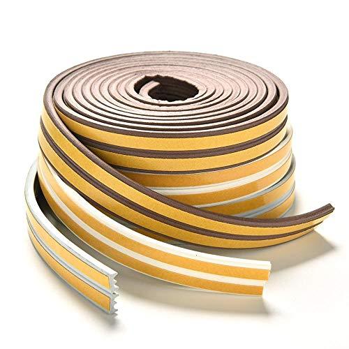 TingsRaam Deur Afdichtingstape Plakband Rubber Weerstrip 2,4 m Glasafdichting Zelfklevende Tocht Excluderstrip, E Type Koffie Kleur