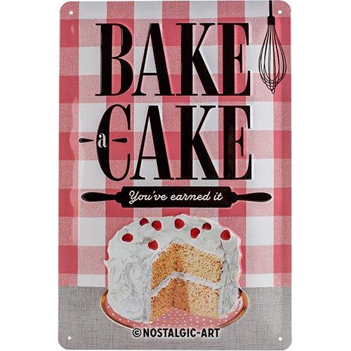 Nostalgic-Art Home & Country – Bake A Cake – Geschenk-Idee für Nostalgie-Fans, Retro Blechschild, aus Metall, Vintage-Dekoration, 20 x 30 cm